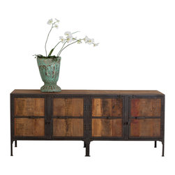 Hyderabad Reclaimed Wood and Metal Buffet - Product Features: