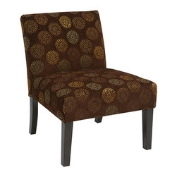 Office Star - Office Star Avenue Six Laguna Chair in Blossom Chocolate - The Laguna Series chair adds sophistication to any room. The chairs are covered in high performance easy care fabrics with Dacron wrapped foam cushions. solid wood legs for durability complete the design.