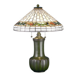 Meyda Tiffany - Bungalow Pine Cone Table Lamp - Requires two 60 watt medium type bulbs. Arts and crafts style. Bordered with honey colored glass. Hand crafted copper foil shade. Sturdy ceramic base. Shade: 18.5 in. Dia. x 25 in. H. Overall: 18.5 in. Dia. x 25 in. H (43 lbs.). Care Instructions