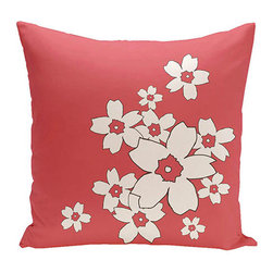 e by design - Floral Coral 20-Inch Cotton Decorative Pillow - - Decorate and personalize your home with coastal cotton pillows that embody color and style from e by design  - Fill Material: Synthetic down  - Closure: Concealed Zipper  - Care Instructions: Spot clean recommended  - Made in USA e by design - CPO-NR6-Coral-20
