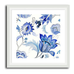 MonDeDe - Capri Floral I - Beautiful blooms in a bevy of blues! This lovely, lively floral, printed on archival quality paper and set in a hand-assembled wood frame, makes a striking accent in your favorite setting.