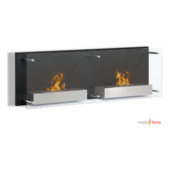 Moda Flame - Moda Flame Faro Wall Mounted Ethanol Fireplace - Add warmth, charm and ambiance with GF101301 Faro Wall Mounted Ethanol Fireplace by Moda Flame A bold decorative contemporary black steel backdrop with a floating protective glass front are the features that make Faro stylish and sleek. When mounted, the Faro is a sure conversation piece of art. The Faro holds two burners mounted on separate steel shelves that portray warmth and sophistication. Fireplace (1)