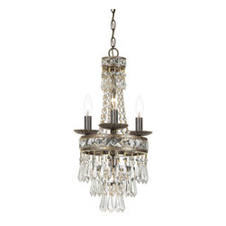 Crystorama - Crystorama 5263-EB-CL-MWP Mercer 4 Light Mini Chandeliers in English Bronze - Our Mercer collection has all the angles covered. It is stunning no matter how you look at it. The metal work is as beautiful as the waterfall of crystal beads and faceted jewels that adorn it. From below, the metal forms a floral design, like something you might see in a stained glass window.