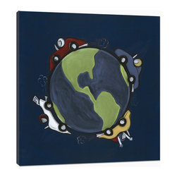 "Doodlefish - World Race - World Race is an 18"" x 18"" stretched canvas Giclee of an abstract globe against midnight blue space. Four race cars speed around the world. Make sure to check out the daredevil in the yellow car! Personalization is available.  This artwork is also available mounted in a painted frame of your choice.    The finished size of the mounted piece is approximately 22""x22""."