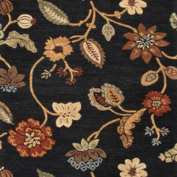 Jaipur Rugs - Transitional Floral Pattern Gray /Black Wool/Silk Tufted Rug - BL11, 9.6x13.6 - Transform your room into an enchanting garden with this hand-tufted wool and silk rug. The vibrant flowers and leaves are raised, which makes them really come alive. This exquisite rug is available in multiple sizes to suit your specific needs.