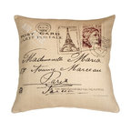 Pillow Decor - Pillow Decor - Postcard to Paris 24 x 24 Throw Pillow - C'est romantique! Francophiles will swoon over this chic Parisian throw pillow featuring classic vintage postcard details. From the scrolling script to the pretty stamps to the perfect shade of  antique-paper white, this pillow will help you create a warm, romantic home atmosphere. Pair it with vintage poster art for the complete look.