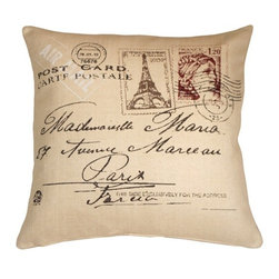 Pillow Decor - Postcard to Paris Throw Pillow, 24 by 24 - C'est romantique! Francophiles will swoon over this chic Parisian throw pillow featuring classic vintage postcard details. From the scrolling script to the pretty stamps to the perfect shade of  antique-paper white, this pillow will help you create a warm, romantic home atmosphere. Pair it with vintage poster art for the complete look.
