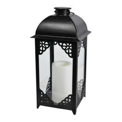Home Black Solar Metal Lantern Large - Go high-tech with this solar-powered lantern. It automatically lights up at night.