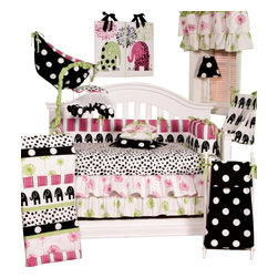 Cotton Tale Designs - Hottsie Dottsie 7pc Crib Bedding Set - The Hottsie Dottsie 7pc crib bedding collection by Cotton Tale Designs is 100% cotton. A Graphic, fun, contemporary nursery in white, black, pink and green this collection is perfect for a little girl's room.