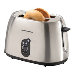 Hamilton Beach - Hamilton Beach 22502 Digital 2-slice Toaster - The The Hamilton Beach Digital 2-slice Toaster has a smudge-proof, brushed finish with a digital display that shows toast shade at a glance. Other functions include: bagel toasting, defrosting, toast boost, and cancel.