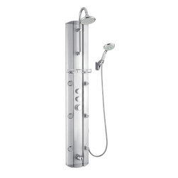 DreamLine - DreamLine SHCM-23580 Hydrotherapy Shower Column with Shower Accessory - With features like a hand held shower, adjustable body massage sprays, large rain shower head and individual water controls, DreamLine shower panels turn your ordinary shower into a home spa. Add other elements of design like shelves, mirrors and accessory compartments, and your shower not only gets a beauty facelift but also becomes more functional. Installation is easy with only hot and cold water connections and fast mounting on wall-attached brackets. Choose from models made of aluminum, acrylic or stone for the right solution for your bathroom. Product Type: Shower Column,  Assembly required,  Anodized aluminum body in satin finish,  Self-cleaning 6 in. overhead rain shower,  4-position water control diverter (sprays, rain shower, hand shower and tub filler),  Six adjustable body sprays,  Multifunction 4 in. hand shower,  Integrated tub filler spout,  Thermostatic mixer control,  Individual on/ off water controls,  Shower accessory holder,  Visible plumbing fixtures in chrome finish,  Back-to-wall or corner installation Product Warranty:,  Limited 1 (one) year manufacturer warranty