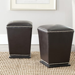 Safavieh - Safavieh Mason Bicast Leather Brown Ottoman (Set of 2) - Add this elegant leather ottoman set to you home decor. Coming in a set of two,this ottoman set features beautiful espresso coloring,a skillfully tapered design,a convenient dining chair height,a stylish leather material,and a wooden frame.