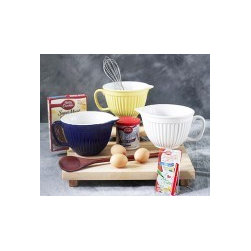 """""""Baby"""" Batter Bowls in 3 Colors - New Smaller Size! Our great selling batter bowls feature a large handle for ease of use and a pouring spout for no mess pouring. Bowls are made of stoneware and are microwave, dishwasher and oven safe."""