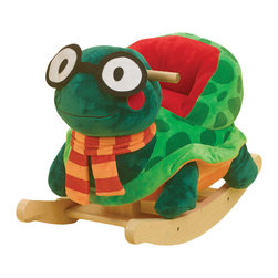 Rockabye - Rockabye Sheldon Turtle Rocker - Sheldon the turtle is very smart. He is almost as smart as the kids that ride him (But not quite!!). Your little ninja will love to ride on their favorite turtle. They will also get to play four fun songs over and over again. Located on the back of the head your little rocker will find 4 colored shapes that activate original songs that teach ABC's, 123's, colors, shapes and more.