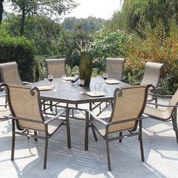 Bellini - Canberra 9-piece Outdoor Dining Set - Enjoy warm summer nights or sunny spring days with this contemporary patio set. This sturdy set is finished in a stylish brown powder coating and includes weather and UV protection, allowing you to enjoy the great outdoors for years to come.