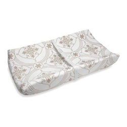 Wendy Bellissimo - Wendy Bellissimo Avery Changing Table Cover - Changing Table Cover fits a standard size contoured changing pad. Featured in an all-over medallion tile mini print in gentle shades of white and soft tan.