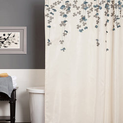 Lush Décor - Ivory & Blue Flower Drops Shower Curtain - Shower in style with this classy curtain. Showcasing floral embroidery and appliqués on faux silk fabric, it gives the powder room a posh backdrop.   72'' W x 72'' H 100% polyester Dry clean Imported