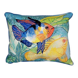 Betsy Drake - Betsy Drake Two Fish Pillow- Indoor/Outdoor - Two Fish Pillow- Large indoor/outdoor pillow. These versatile pillows are equal at enhancing your homes seaside decor and adding coastal charm to an outdoor setting arrangment. They feature printed outdoor, fade resistant fabric for years of wear and enjoyment. Solid back, polyfill. Proudly made in the USA.