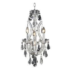 """PWG Lighting / Lighting By Pecaso - Karla 4-Light 12"""" Crystal Ceiling Pendant 2381D12C-RC - Karla was an Empress from 1740 to 1780 in the waning days of the Baroque period. The Baroque love of embellishment is highlighted in the elaborate crystal swags and drops that fully dress these fixtures in a look that is pure luxury. From the gold or chrome finish to the fully lavish crystal dressing, this Karla collection represents opulent sophistication."""