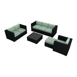 Harmonia Living - Urbana 5 Piece Outdoor Wicker Sofa Set, Spa Cushions - Create the outdoor living room you've always dreamed of with this set, which includes a couch, a love seat, a club chair and ottoman, a coffee table and Sunbrella® cushions. The durable, UV-protected aluminum and wicker construction means you can relax outside for years to come, and the cushions are moisture-resistant and easy to clean. Perfect for the host who loves to entertain outdoors.