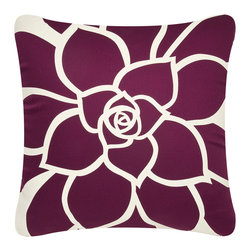 Wabisabi Green - Bloom Eco Pillow Without Insert, White and Plum, - - GOTS (Global Organic Textile Standard) certified soft organic cotton twill.