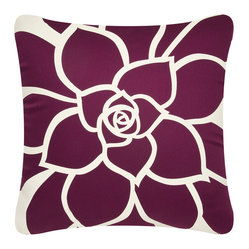 Wabisabi Green - Bloom Eco Pillow, Cream/Plum, Without Insert - Vibrant petals bloom radiantly out across this throw pillow in a bold, uplifting modern design. Hand-printed with ecofriendly ink onto recycled polyester/organic cotton blend fabric, this accent pillow celebrates nature in more ways than one. Toss it anywhere to give your room instant warmth.