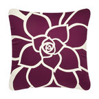 Wabisabi Green - Bloom Eco Pillow, White/Plum, 18x18, Without Insert - Vibrant petals bloom radiantly out across this throw pillow in a bold, uplifting modern design. Hand-printed with ecofriendly ink onto recycled polyester/organic cotton blend fabric, this accent pillow celebrates nature in more ways than one. Toss it anywhere to give your room instant warmth.