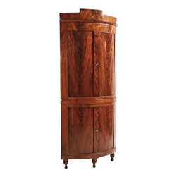Bowed Front Danish Empire Corner Cupboard - The HighBoy, BonninAshley Antiques