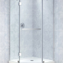 "BathAuthority LLC dba Dreamline - Prism-X Frameless Hinged Shower Enclosure, 34 3/8"" D x 34 3/8"" W x 72"" H, Brushe - The Prism-X shower enclosure has a unique corner installation design that saves space and becomes a beautiful focal point. A flowing frameless design and premium 3/8 in. thick tempered glass create the rich look of custom glass. The Prism-X is easy to install with innovative wall profiles and a wall-attached support bar. Add a DreamLine shower base and shower backwalls for a streamlined cost effective transformation."