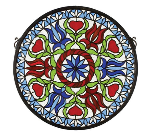 Meyda Tiffany - Meyda Tiffany Hex Medallion Stained Glass Tiffany Window X-48232 - The kaleidoscope-inspired design of this Meyda Tiffany stained glass Tiffany window features floral detailing and a classic medallion shape. The shades of royal blue and the rich reds create a dazzling effect complimented by a light backdrop and green leafy accenting.