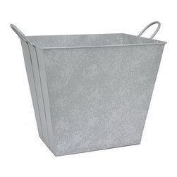 Three Hands Corporation - Gray Metal Basket - Constructed from pale metal, this rectangular basket is ideal as a waste receptacle or as a living room ccent.   20.5'' W x 16'' H x 12.25'' D Metal Imported