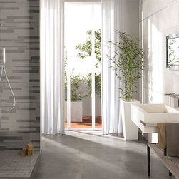 """Bathrooms - Flaviker Urban Concrete in a mix Color. The pattern is a 12""""x24"""" unit sold as a 2""""x24"""", 4""""x24"""" and 6""""x24""""."""