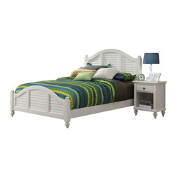 Home Styles - Home Styles Bermuda 2 Piece Bedroom Set in White Finish-King - Home Styles - Bedroom Sets - 55436017 - Bermuda Bed and Night Stand- Inspired by the fusion of British traditional and old world tropical design the Bermuda Collection highlights Mahogany Solids and Engineered Woods in a Brushed White finish.  Deep Textured brushed stroke finish enhances the overall beauty of this luster white finish. Further inspiration can be found in the shutter style design and turned feet. Night stand features a storage drawer lower storage area and antique brushed nickel hardware. Size:
