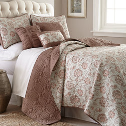 None - Nelinea 6-piece Quilt Set - The reversible design of this bedding ensemble lets you change the look without having to shop for another quilt or make room to store it. Complete with quilted shams and throw pillows,the quilted bedspread reverses from a solid to a print.
