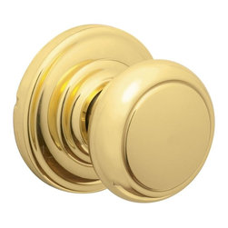 Schlage - Andover Bright Brass Hall and Closet Knob - F - Manufacturer SKU: FA10 AND 605. Handle Type: Knob. Non-locking interior for use on hall or closet. All Metal Chassis for Strength and Durability. Universal knob works for right or left handed doors. Limited Lifetime Mechanical and Finish Warranty. Coordinate with other Andover Bright Brass products. High quality materials and construction used for a longer life and brilliant finish. Designed for standard door prep (fits existing pre-drilled holes). Universal latch adjusts to fit 2-3/8 or 2-3/4. Fits 1-3/8 to 1-3/4 wood or metal doors. Finish: Bright Brass. 2.4 in. L x 2.8 in. W x 2.8 in. H (1.1 lbs)