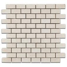 "White Pearl / Botticino Marble 1 X 2 Polished Brick Mosaic Tile - 6"" X 6"" Sample"
