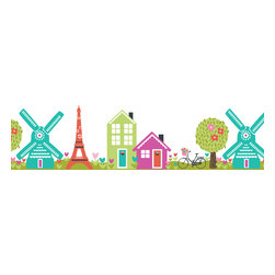 WallPops - Dilly Dally Stripes Wall Decal - The Dilly Dally stripe creates a darling wall border! With an enchanted panoramic that includes the Eiffel Tower, and a Dutch inspired windmill, this peel and stick border is a sweetheart detail.