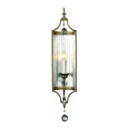 Antique Country Iron art and Crystal Wall Sconce -