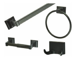 DHI-Corp - Millbridge 4-Piece Bath Kit, Oil Rubbed Bronze - The Design House 560854 Millbridge 4-Piece Bath Kit completes the look of your bathroom with a matching towel ring, robe hook, towel bar and toilet paper holder. Made of zinc and aluminum with an oil rubbed bronze finish, the concealed screws add a modern aesthetic to any bathroom. Hang large towels on the 24-inch towel bar and hand towels on the 5.9-inch towel ring. The toilet paper holder measures 8.25-inches and the double robe hook is 2.5-inches. The Millbridge collection features ceiling fans, light fixtures, shower heads and faucets and much more. The Design House 560854 Millbridge 4-Piece Bath Kit comes with a 1-year limited warranty that protects against defects in materials and workmanship. Design House offers products in multiple home decor categories including lighting, ceiling fans, hardware and plumbing products. With years of hands-on experience, Design House understands every aspect of the home decor industry, and devotes itself to providing quality products across the home decor spectrum. Providing value to their customers, Design House uses industry leading merchandising solutions and innovative programs. Design House is committed to providing high quality products for your home improvement projects.