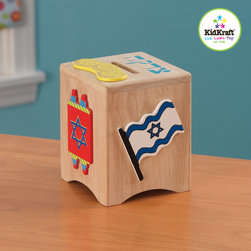 Kidkraft - Kids Play Box From Vistastores - In Judaism, tzedakah is the religious obligation to perform charity. Our colorful Tzedakah Box is a perfect way to teach young children about this valuable lesson, In Judaism, tzedakah is the religious obligation to perform charity, Helps teach children about Jewish culture, Vivid Jewish symbols, including the Star of David and a menorah, Natural finish, Made of wood.