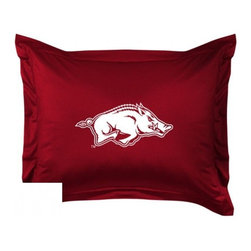Sports Coverage - Arkansas Razorbacks Locker Room Collection Pillow Sham - Show your team spirit with this officially licensed 25 x 31 Arkansas Razorbacks sham. There is a 2 flanged edge that decorates all four sides of each Arkansas NCAA sham. Made of 100% polyester jersey mesh, just like the players wear, with screen printed Arkansas Razorbacks logo in the center. Envelope closure in back. Fits standard pillow. Coordinates with Arkansas Locker Room Collection. 3 overlapping envelope closure is on back.