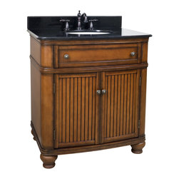 """Hardware Resources - 32"""" Wide MDF Vanity  VAN029-T - This 32"""" wide MDF vanity has simple beadboard doors and curved shape to accent the traditional cottage feel. The Walnut finish is created by hand, making each vanity unique. A large cabinet, fully functional top drawer fitted around plumbing and interior pull-out drawer, equipped with ball bearing slides, provide ample storage.  This vanity has a 2CM black granite top preassembled with an H8809WH (15"""" x 12"""") bowl, cut for 8"""" faucet spread, and corresponding 2CM x 4"""" tall backsplash.  Overall Measurements: 32"""" x 23"""" x 35"""" (measurements taken from the widest point) Finish: Painted Walnut Material: MDF Style: Traditional Coordinating Mirror(s): MIR029, MIR029-48, MIR029D-60 Bowl: H8809WH"""