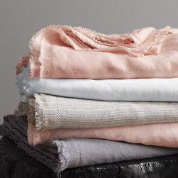 Eileen Fisher Washed Linen Sheets - I like the pretty yet slightly rustic look of this fringe linen bedding.