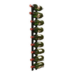 Vinotemp - 9 Bottle Epic Metal Wine Rack (Black) - At last-a new wall-mount metal wine rack option! This 9 bottle metal rack can be fastened to almost any wall or inside of a wine cabinet. It features sturdy metal construction and artfully displays your bottles with the labels visible for show. This unique wire rack consists of two identical racks that cradle each end of the body of your bottle for a dazzling display. Try Epicureanist wine racks! Available in Black finish.