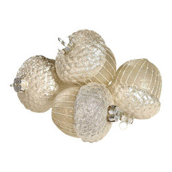 Large Antique Silver Acorn Ornament - Stunning mercury glass is fashioned into oversized acorns and topped with a light dusting of glitter snow for a shimmering, beautiful effect. Each ornament is 5 inches high and has the old world touch of the ever chic mercury glass which is iridescent and fabulous.