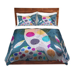 DiaNoche Designs - Duvet Cover Twill - Cute Bird with Eggs - Lightweight and soft brushed twill Duvet Cover sizes Twin, Queen, King.  SHAMS NOT INCLUDED.  This duvet is designed to wash upon arrival for maximum softness.   Each duvet starts by looming the fabric and cutting to the size ordered.  The Image is printed and your Duvet Cover is meticulously sewn together with ties in each corner and a concealed zip closure.  All in the USA!!  Poly top with a Cotton Poly underside.  Dye Sublimation printing permanently adheres the ink to the material for long life and durability. Printed top, cream colored bottom, Machine Washable, Product may vary slightly from image.