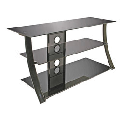 "Bell'o - BellO AV Stand Fits Up to 46"" or 120 lbs - This contemporary audio/video furniture with a scratch resistant high gloss black powder coated steel frame and black tempered safety glass shelves is designed to hold most flat panel televisions up to 46"" plus up to 4 or more audio/video components plus a Accommodates most Flat Panel TVs up to 46"" or 100 lb, plus at  least 4 audio/video components