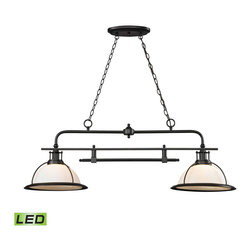 ELK Lighting - ELK Lighting 55046/2-LED Wilmington 2 Light Island Lights in Oil Rubbed Bronze - The Wilmington collection has a classic design style to enhance a variety of settings. A pull-down single pendant offers added versatility and function to the series that is finished in Oil Rubbed Bronze with opal white glass.