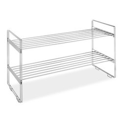 "Whitmor - Stackable Closet Shelves 2Tier - Whitmor Stackable Closet Shelves Two Tier - Dimensions: 12"" x 30"" x 16.63"" - Multiple units can be stacked for additional storage.  Chrome wire.  This item cannot be shipped to APO/FPO addresses. Please accept our apologies."