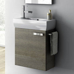 ACF - 18 Inch Vanity Cabinet With Fitted Sink - Set Includes:. Vanity Cabinet (1 Door). High-end fitted ceramic sink. Vanity Set Features . Vanity cabinet made of engineered wood. Cabinet features waterproof panels. Vanity cabinet in wenge, larch canapa, grey oak, glossy white finishes. Vanity cabinet features one easy-to-open door. Chrome door handle elegantly completes vanity surface. Faucet not included. Perfect for modern bathrooms. Made and designed in Italy. Includes manufacturer 5 year warranty.